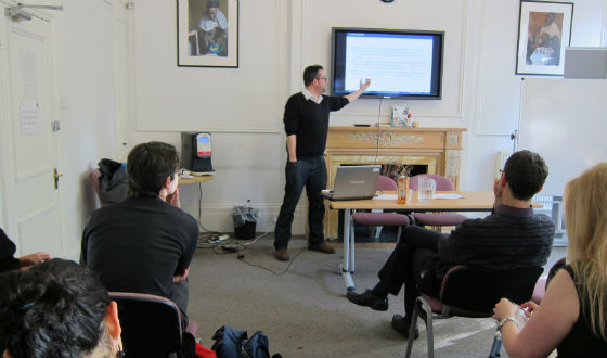 Giving a talk in London (Credit: Anna Marry, London International Development Centre).